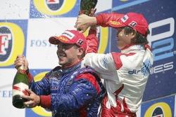 Podium: race winner Ernesto Viso with Hiroki Yoshimoto