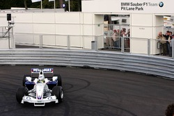 Visit of BMW Sauber F1 team Pitlane Park: Nick Heidfeld takes the car out on the new BMW Pit Lane Park