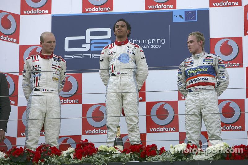 Lewis Hamilton premier, Alexandre Premat deuxième, Adam Carroll troisième