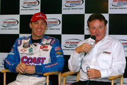 Kevin Harvick and Richard Childress are seen during a press conference announcing that Harvick is resigning to drive for Richard Childress Racing
