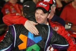 Victory lane: race winner Dale Earnhardt Jr. celebrates with Denny Hamlin
