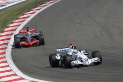 Nick Heidfeld leads Juan Pablo Montoya