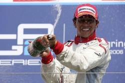 Lewis Hamilton race winner sprays champagne