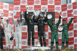 GT1 podium: class and overall winners Andrea Bertolini, with second place Sascha Bert and Jaroslav Janis, and third place Fabrizio Gollin and Fabio Babini