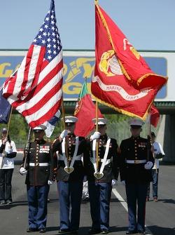 Marines sur la grille de départ