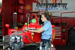FIA technical delegate checks the Ferrari
