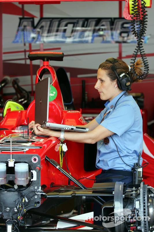Délégué technique de la FIA vérifie la Ferrari