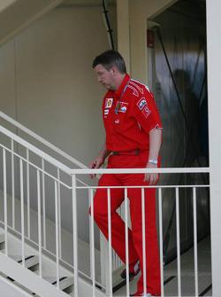 Ross Brawn attends race stewards meeting regarding Michael Schumacher's pole position