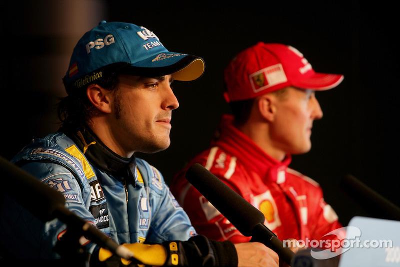 Conférence de presse : le vainqueur de la pole position Fernando Alonso et en troisième place Michael Schumacher