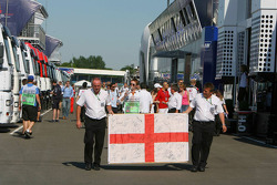 An English flag in the paddock