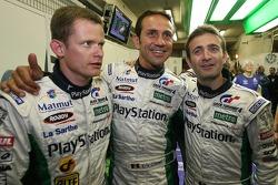 Fastest man of the day Emmanuel Collard celebrates with Erik Comas and Nicolas Minassian