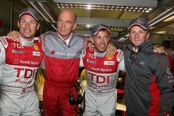 Pole winner Rinaldo Capello celebrates with Tom Kristensen;Dr. Wolfgang Ullrich and Allan McNish