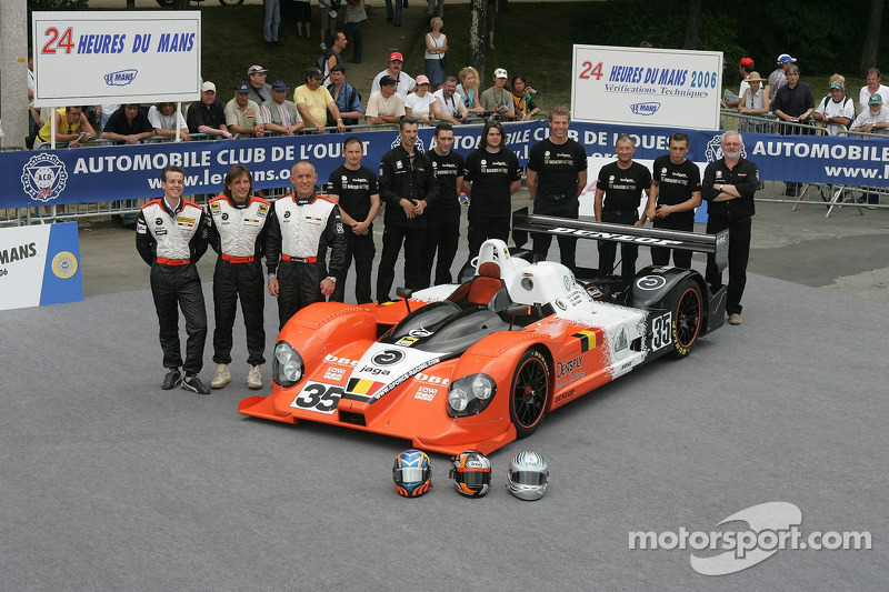 Edward Morris, Jean-François Leroch, Frank Hahn, et l'équipe G-Force avec la G-Force Courage C65 Judd