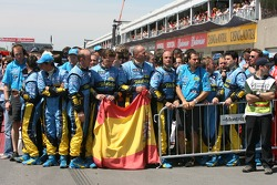 Renault team members celebrate
