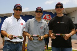 Reed Sorenson, J.J. Yeley and Denny Hamlin, all members of the 2006 Raybestos Rookie Class pose with Raybestos horseshoes before practice