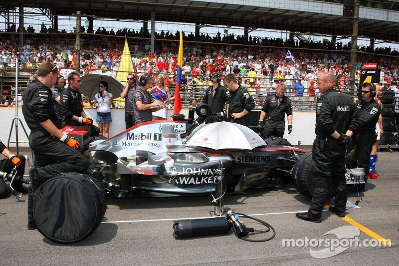 La voiture de Kimi Räikkönen sur la grille