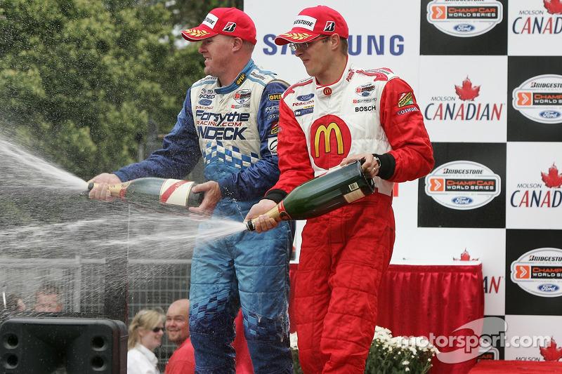 Podium : champagne pour Paul Tracy et Sébastien Bourdais