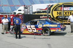 Michael Waltrip's car goes through tech inspection