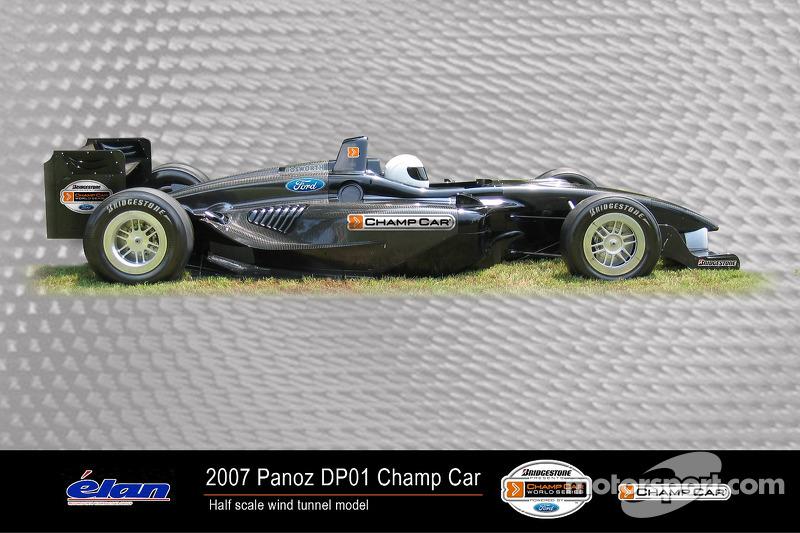 La moitié d'un modèle à l'échelle de la nouvelle Panoz DP01 Champ Car 2007