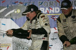 LMP2 podium: champagne for Liz Halliday and Clint Field