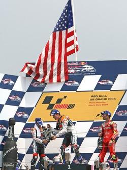 Podium: race winner Nicky Hayden with Dani Pedrosa and Marco Melandri