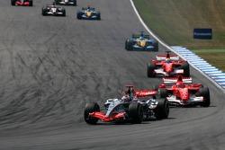 Start: Kimi Raikkonen takes the lead ahead of Michael Schumacher and Felipe Massa