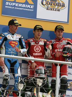 Troy Bayliss, Noriyuki Haga, Andrew Pitt on the podium