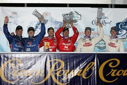 Podium: race winner Scott Pruett and Luis Diaz , with second place Max Angelelli and Ryan Briscoe, and third place Mike Rockenfeller and Patrick Long