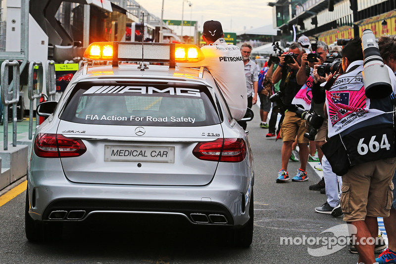 Pole sitter Lewis Hamilton, Mercedes AMG F1 takes a ride in the FIA Medical Car