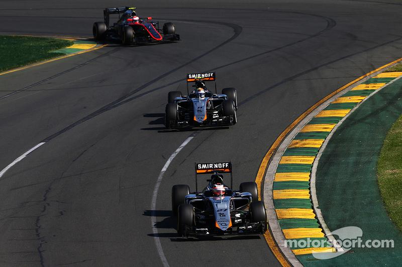 Nico Hülkenberg, Sahara Force India F1 VJM08, vor Teamkollege Sergio Perez, Sahara Force India F1 VJ