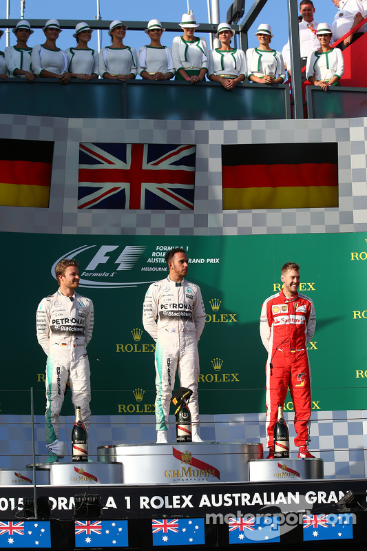 Race winner Lewis Hamilton, Mercedes AMG F1, second place Nico Rosberg, Mercedes AMG F1 W06 and third place Sebastian Vettel, Ferrari