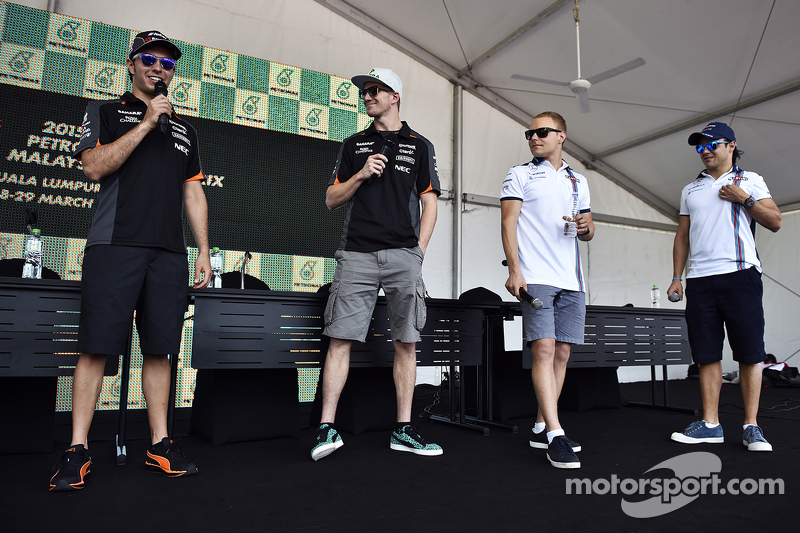 Sergio Pérez, Sahara Force India F1 con su compañero de equipo Nico Hulkenberg, Sahara Force India F