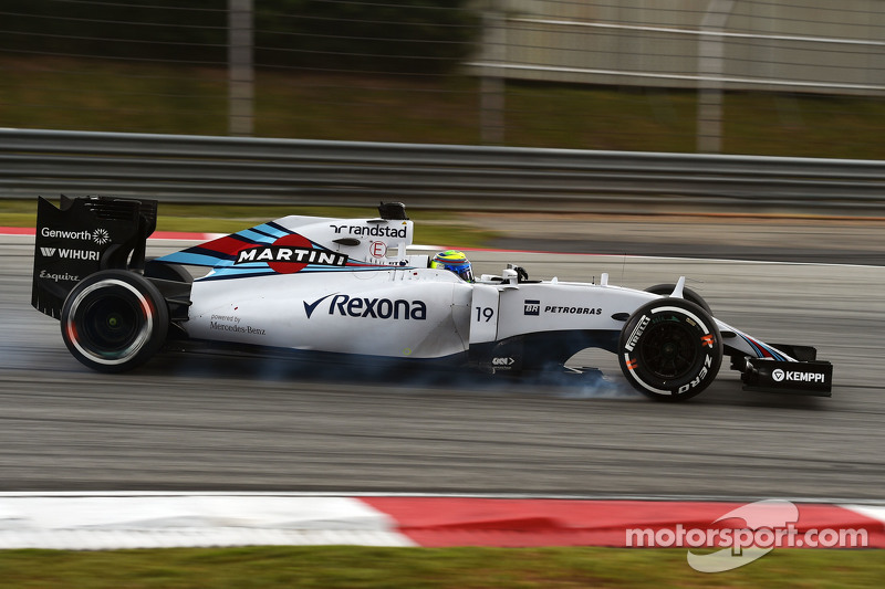 Felipe Massa, Williams FW37 locks up under braking
