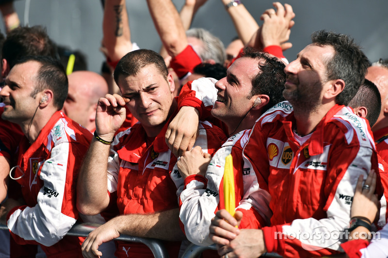 Ferrari celebrates victory at the podium