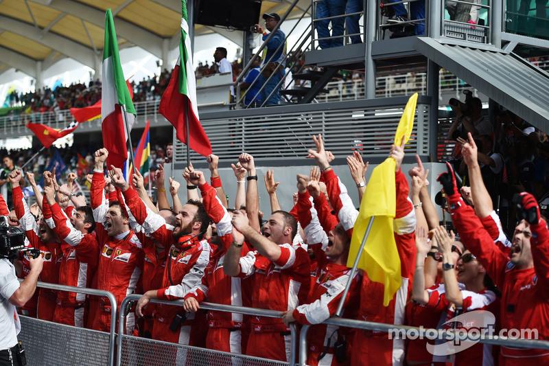 Ferrari celebrates victory at the podium
