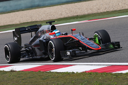 Fernando Alonso, McLaren MP4-30 running flow-vis paint