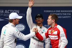 Nico Rosberg, Mercedes F1, Lewis Hamilton, Mercedes F1, dan Sebastian Vettel, Ferrari