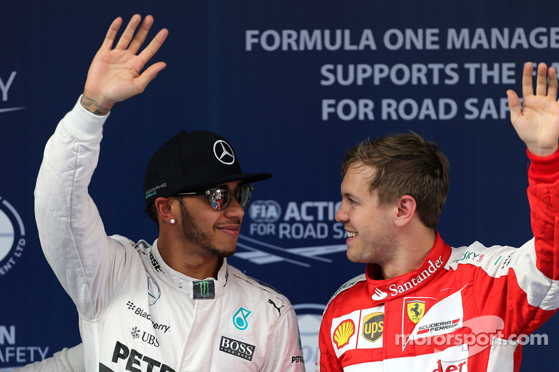 Lewis Hamilton, Mercedes AMG F1 Team and Sebastian Vettel, Scuderia Ferrari