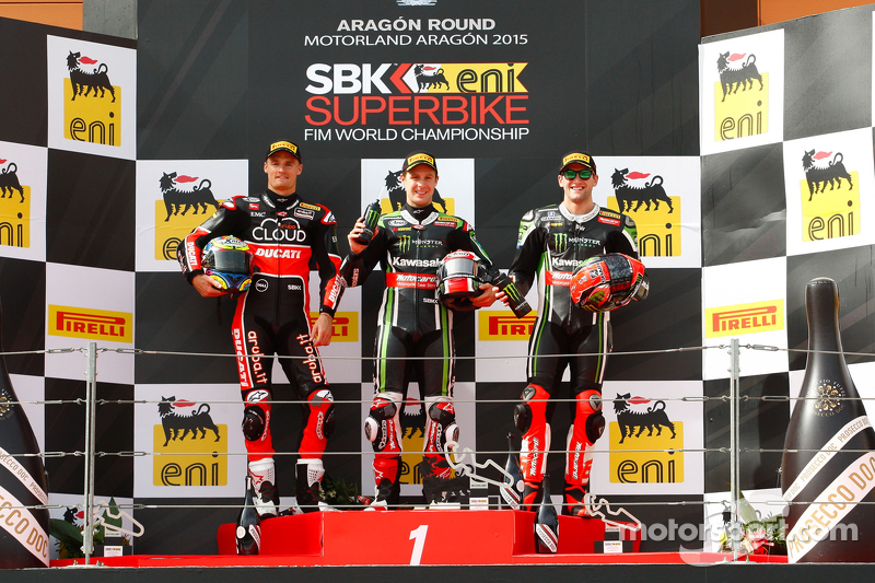 Podium: second place, Chaz Davies, Ducati Team, race winner Jonathan Rea, Kawasaki, third place, Tom Sykes, Kawasaki