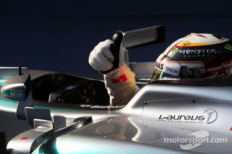 Race winner Lewis Hamilton Mercedes AMG F1 W06 celebrates in parc ferme