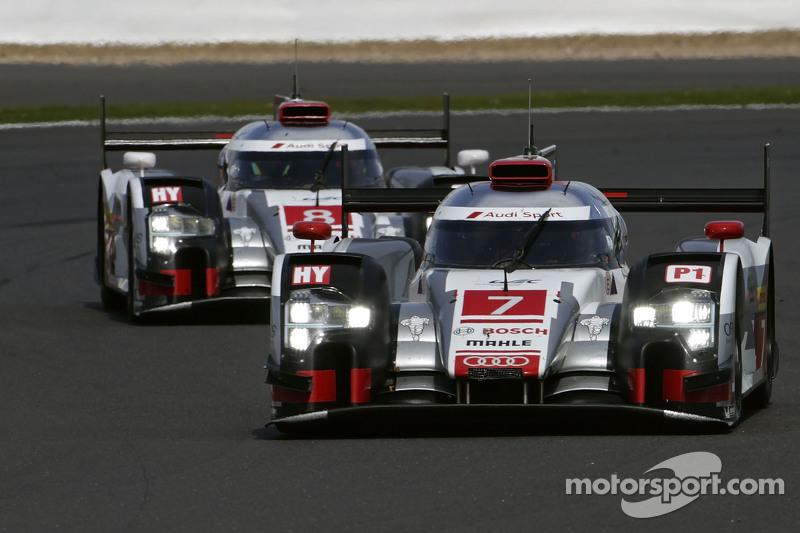 #7 Audi Sport Team Joest R18 e-tron quattro: Марсель Фасслер, Андре Лоттерер, Бенуа Треліє та #8 Aud