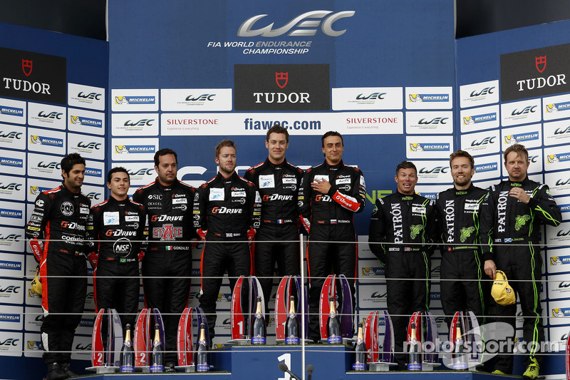 LMP2 Podium: second place Gustavo Yacaman, Pipo Derani, Ricardo Gonzalez and winners Sam Bird, Julien Canal, Roman Rusinov and third place Scott Sharp, David Heinemeier Hansson, Ryan Dalziel