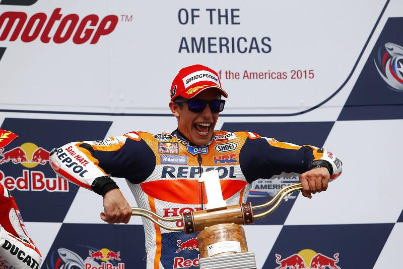 Em 2015, Márquez ficou sem o título, mas o domínio nos EUA seguiu firme. Primeiro, mais uma vitória no GP das Américas.