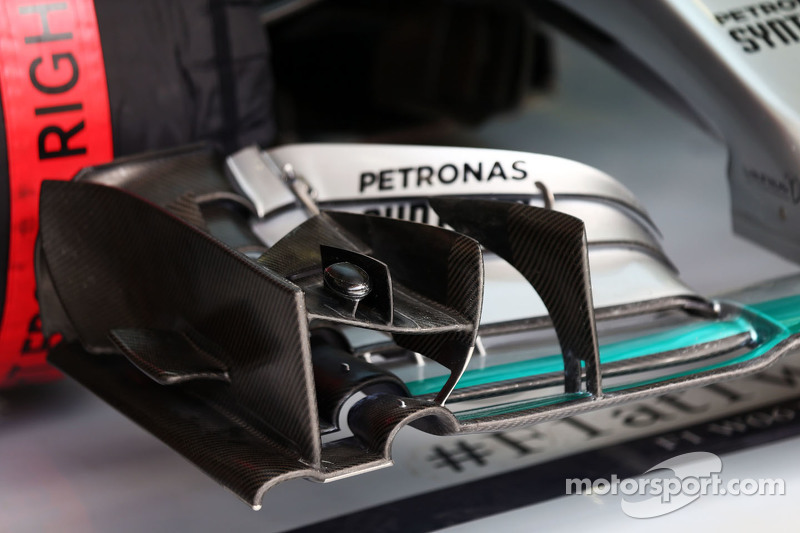 Mercedes AMG F1 W06 front wing detail.