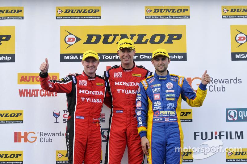 Podium: race winner Matt Neal, second place Andrew Jordan, third place Gordon Shedden