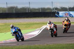Maverick Viñales, Team Suzuki MotoGP; Danilo Petrucci, Pramac Ducati, und Stefan Bradl, Athina Forward Racing Team, Yamaha