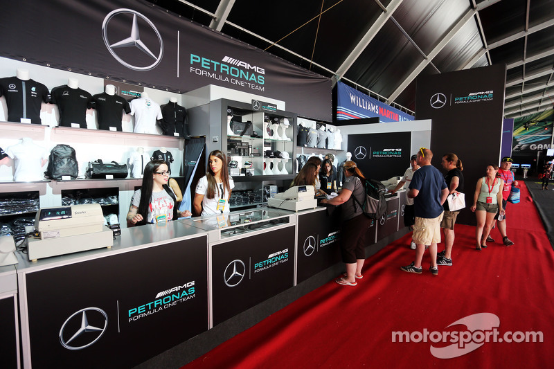 mercedes amg f1 merchandise stand at spanish gp. Black Bedroom Furniture Sets. Home Design Ideas