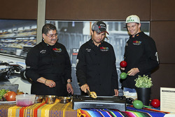 (From left to right): Chef Rubén Boldo Villegas, Sergio Pérez and Nico Hulkenberg from Sahara Force India F1 cooking Mexican food in their team's motor home.