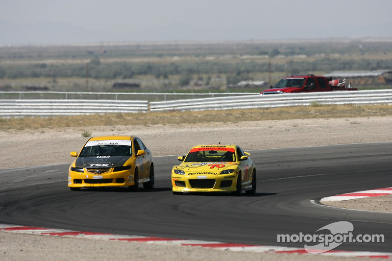 #188 i-MOTO Racing Acura: Glenn Bocchino, Roger Foo, #70 SpeedSource Mazda RX-8: David Haskell, Sylvain Tremblay