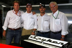 Conférence de presse Spyker MF1 Racing : Michiel Mol, Christijan Albers, Tiago Monteiro et Fred Mulder